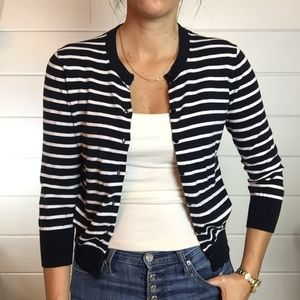 J. Crew Striped Cardigan Blue/ White Breton Stripe